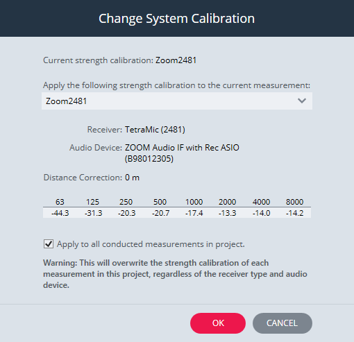 Change System Calibration